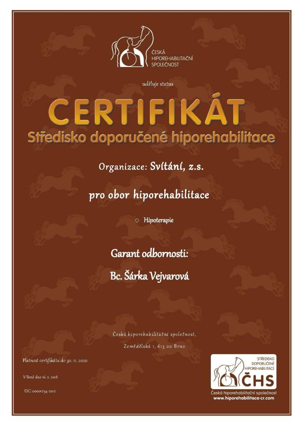 Svítání - CHS_certifikat_stredisko_doporucene